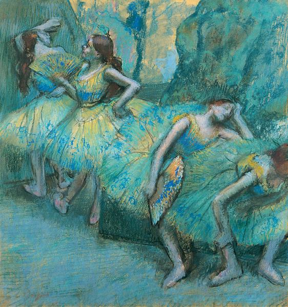 Ballet Dancers in the Wings - Edgar Degas pastel artwork