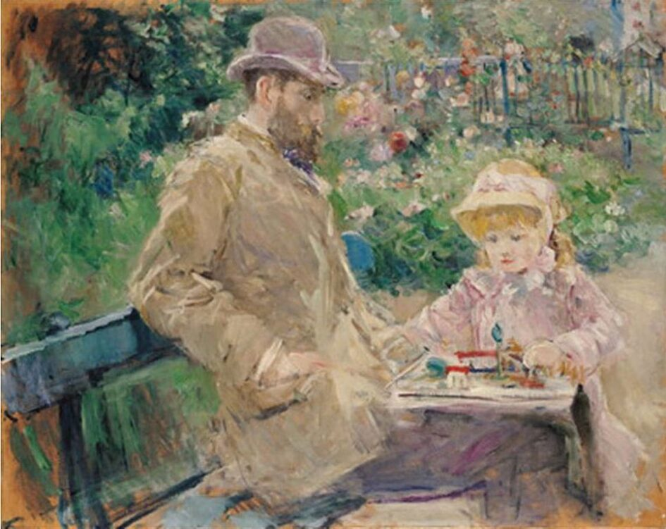 Berthe Morisot painting of Euguen Manet & their daughter